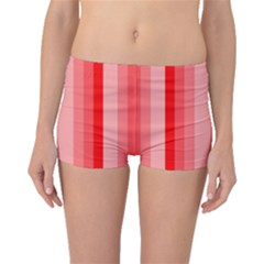 Red Monochrome Vertical Stripes Boyleg Bikini Bottoms