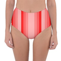 Red Monochrome Vertical Stripes Reversible High Waist Bikini Bottoms