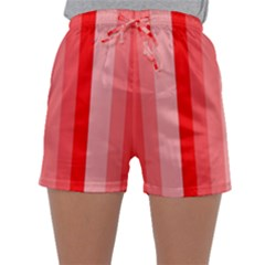 Red Monochrome Vertical Stripes Sleepwear Shorts