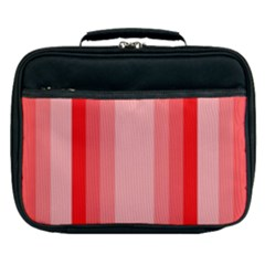 Red Monochrome Vertical Stripes Lunch Bag
