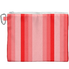 Red Monochrome Vertical Stripes Canvas Cosmetic Bag (xxxl)