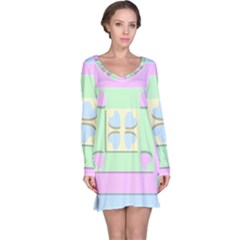 Hearts 3d Decoration Design Love Long Sleeve Nightdress