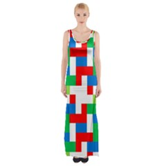Geometric Maze Chaos Dynamic Maxi Thigh Split Dress