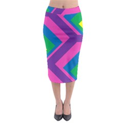 Geometric Rainbow Spectrum Colors Midi Pencil Skirt