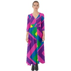 Geometric Rainbow Spectrum Colors Button Up Boho Maxi Dress by Nexatart