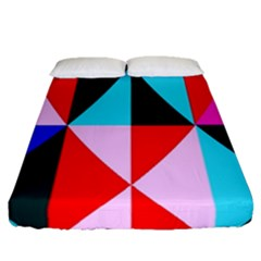 Geometric Pattern Design Angles Fitted Sheet (queen Size) by Nexatart