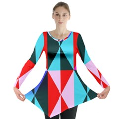 Geometric Pattern Design Angles Long Sleeve Tunic