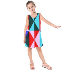 Geometric Pattern Design Angles Kids  Sleeveless Dress