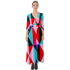 Geometric Pattern Design Angles Button Up Boho Maxi Dress by Nexatart