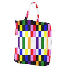 Rainbow Color Blocks Red Orange Giant Grocery Zipper Tote