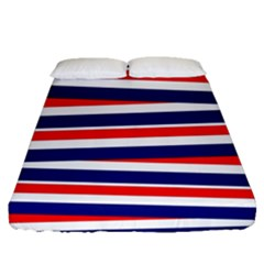 Red White Blue Patriotic Ribbons Fitted Sheet (queen Size) by Nexatart