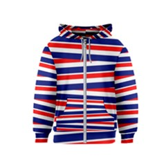 Red White Blue Patriotic Ribbons Kids  Zipper Hoodie