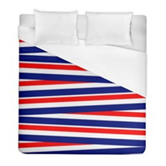 Red White Blue Patriotic Ribbons Duvet Cover (full/ Double Size)