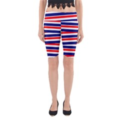 Red White Blue Patriotic Ribbons Yoga Cropped Leggings
