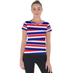 Red White Blue Patriotic Ribbons Short Sleeve Sports Top