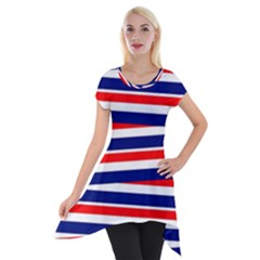 Red White Blue Patriotic Ribbons Short Sleeve Side Drop Tunic