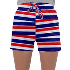 Red White Blue Patriotic Ribbons Sleepwear Shorts