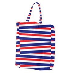 Red White Blue Patriotic Ribbons Giant Grocery Zipper Tote