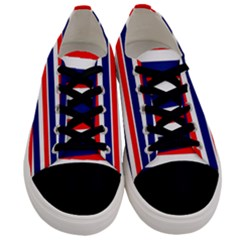 Red White Blue Patriotic Ribbons Men s Low Top Canvas Sneakers
