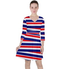 Red White Blue Patriotic Ribbons Ruffle Dress