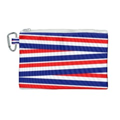 Red White Blue Patriotic Ribbons Canvas Cosmetic Bag (large) by Nexatart