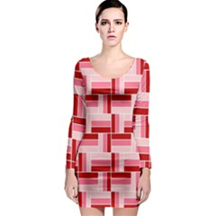 Pink Red Burgundy Pattern Stripes Long Sleeve Bodycon Dress