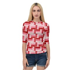 Pink Red Burgundy Pattern Stripes Quarter Sleeve Raglan Tee