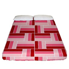 Pink Red Burgundy Pattern Stripes Fitted Sheet (queen Size)