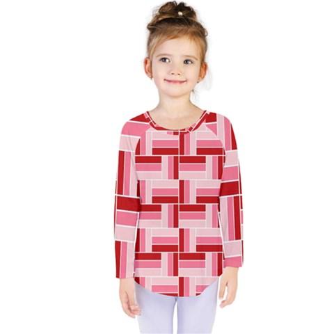 Pink Red Burgundy Pattern Stripes Kids  Long Sleeve Tee by Nexatart