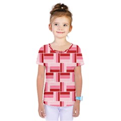 Pink Red Burgundy Pattern Stripes Kids  One Piece Tee