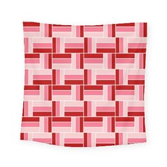 Pink Red Burgundy Pattern Stripes Square Tapestry (small)