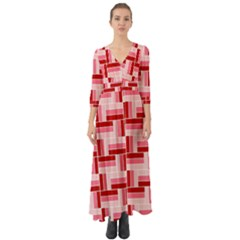 Pink Red Burgundy Pattern Stripes Button Up Boho Maxi Dress