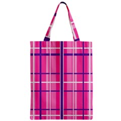 Gingham Hot Pink Navy White Zipper Classic Tote Bag by Nexatart