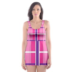 Gingham Hot Pink Navy White Skater Dress Swimsuit