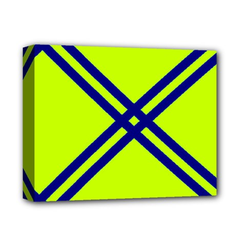 Stripes Angular Diagonal Lime Green Deluxe Canvas 14  X 11