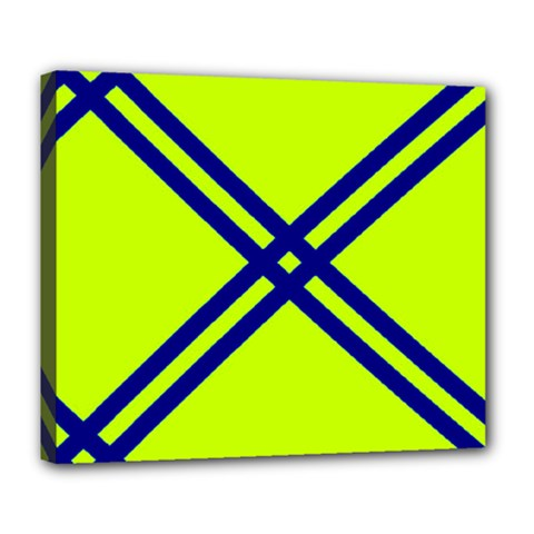 Stripes Angular Diagonal Lime Green Deluxe Canvas 24  X 20   by Nexatart