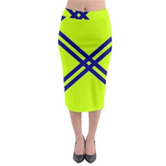 Stripes Angular Diagonal Lime Green Midi Pencil Skirt
