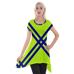 Stripes Angular Diagonal Lime Green Short Sleeve Side Drop Tunic