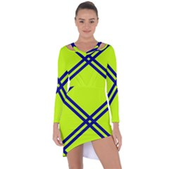 Stripes Angular Diagonal Lime Green Asymmetric Cut Out Shift Dress