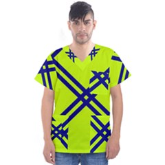Stripes Angular Diagonal Lime Green Men s V Neck Scrub Top