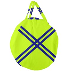 Stripes Angular Diagonal Lime Green Giant Round Zipper Tote