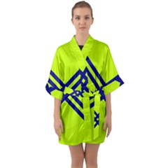 Stripes Angular Diagonal Lime Green Quarter Sleeve Kimono Robe