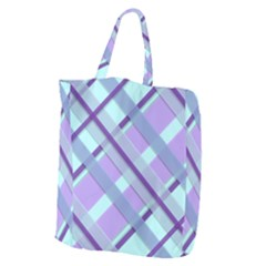 Diagonal Plaid Gingham Stripes Giant Grocery Zipper Tote