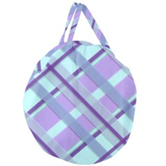 Diagonal Plaid Gingham Stripes Giant Round Zipper Tote