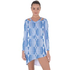 Blue Monochrome Geometric Design Asymmetric Cut Out Shift Dress