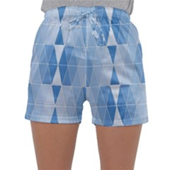 Blue Monochrome Geometric Design Sleepwear Shorts