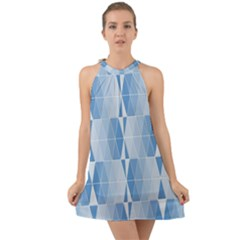 Blue Monochrome Geometric Design Halter Tie Back Chiffon Dress by Nexatart