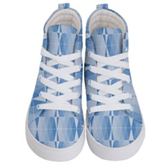 Blue Monochrome Geometric Design Kid s Hi Top Skate Sneakers