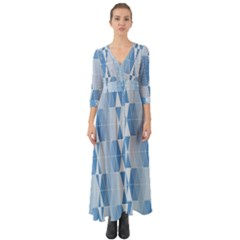 Blue Monochrome Geometric Design Button Up Boho Maxi Dress by Nexatart