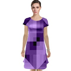 Purple Geometric Cotton Fabric Cap Sleeve Nightdress